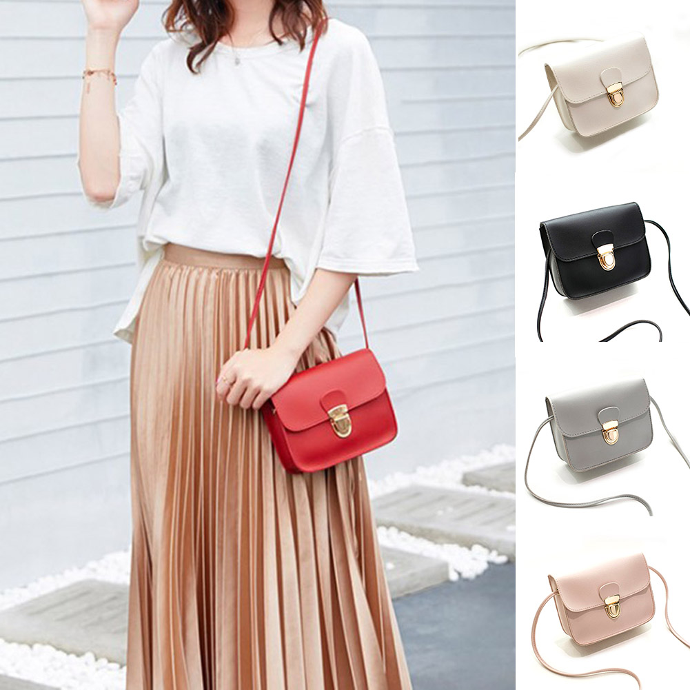 2019 New Small Leather Handbags Women Red Pink Crossbody Bags Lock Design Ladies Mini Shoulder Messenger Bags Sac A Main