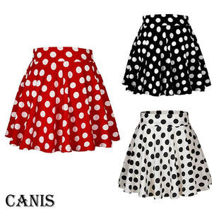 Short Skirts Clothings Print Polka-Dot White Mini Women Ladies Tutu Sundress Black Girl