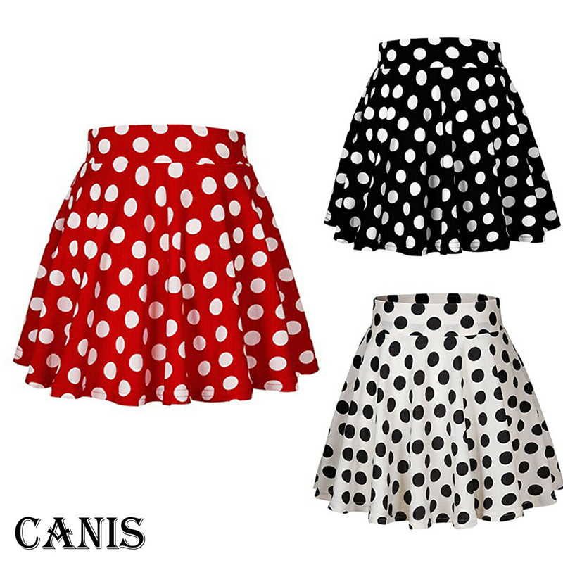 Women Ladies Mini Girl Short Skirts Clothes Clothings Casual Polka Dot Leisure Print Red White Black A-Link Skirts Tutu Sundress