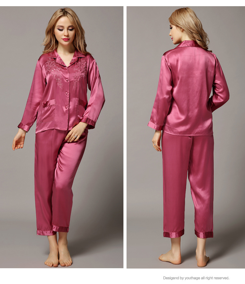 Top Grade Luxury Women 100% Silk Autumn Sleepwear Long Sleeve 2 Piece Sets Embroidery Silk Pajama Women Pijama Lady Pajamas