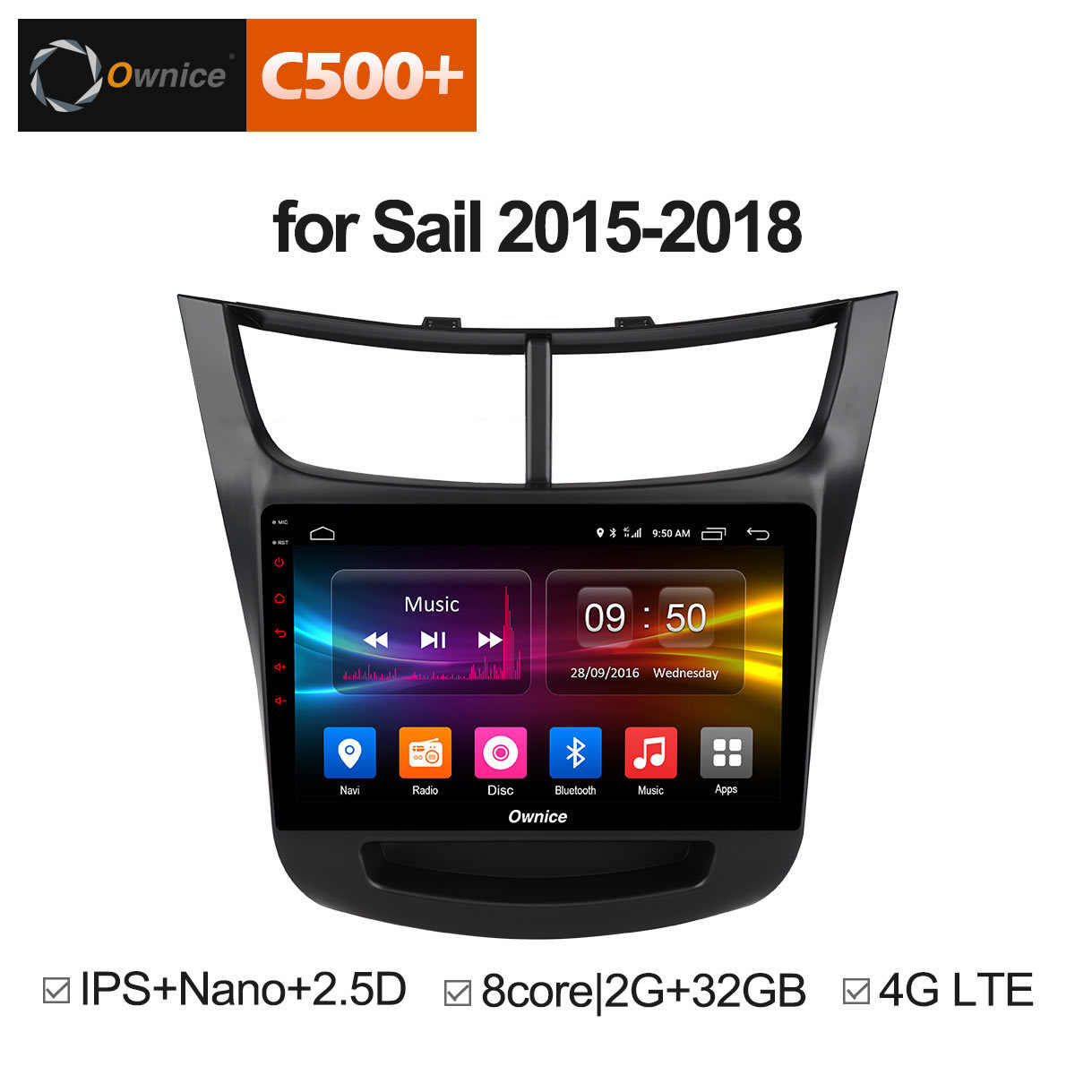 Ownice 9 inch octa core OEM frame car PC Android 8.1 2GB+32GB GPS radio navigation for Chevrolet Sail 2015 2016 2017 2018 BT 4G