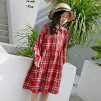 Plaid Cotton Preppy Style Knee Length Dresses For Teens Girls Dresses Age 13 14 Years Toddler Red Long Sleeve Party Dress Kids