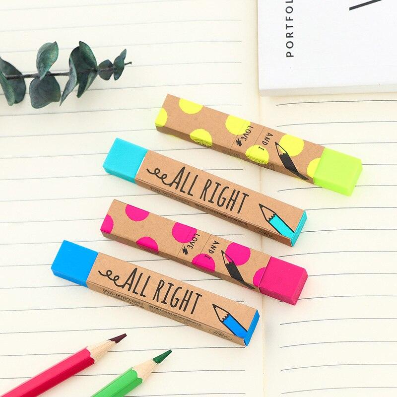 Милые Kawaii в полоску карандаш ластики цветные школьные резинки для детская живопись подарочная Корейская Канцелярия