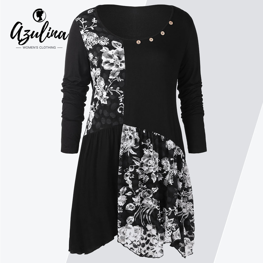 ROSEGAL  Plus Size Long Sleeves Buttons Longline Floral Top