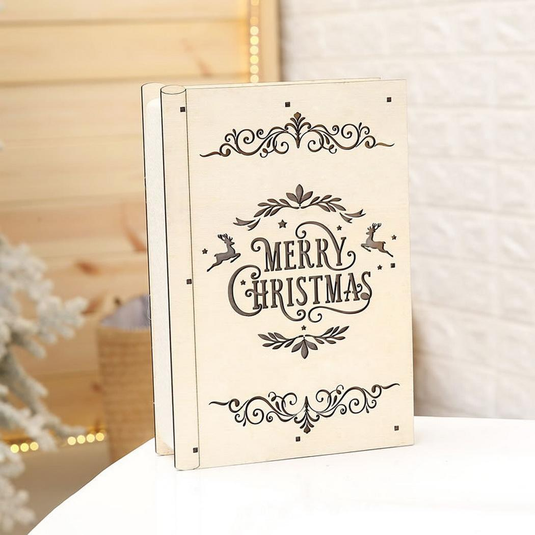 Creative Christmas Decoration Wooden Luminous Book Rectangle Letter LED Ornament Christmas, Home, Window Showcase