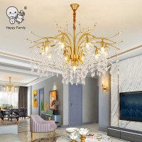 Gold Iron Crystal Chandelier Light Fixture Modern Contemporary Luxury Big Large Hanging Ceiling Lamp Bedroom Living Dining Room