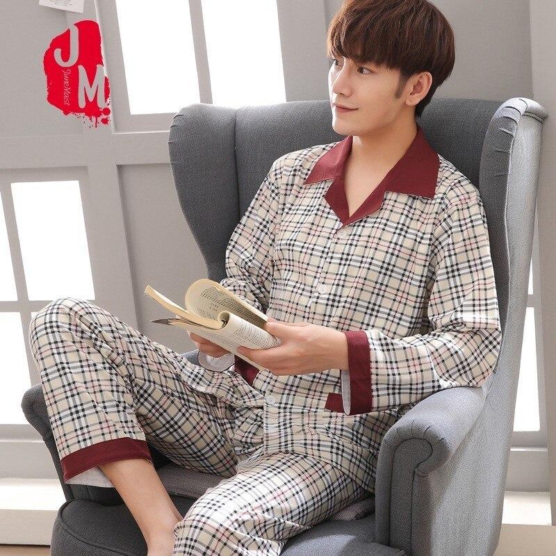 Pyjama-Set Sleepwear Male Nightwear 100%Cotton Autumn XL Plaid Two-Piece Spring Men XXXL