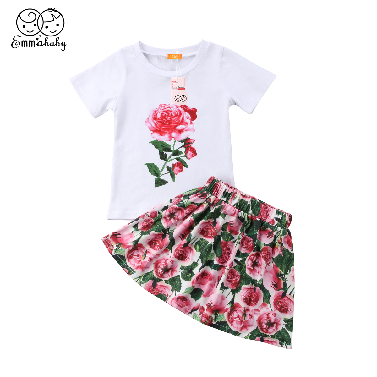eb565ed95b50 Cute Toddler Kids Baby Girl Outfits Floral Tops Shirt Shortsleeve Skirt  Cotton Clothes Set Summer Outfit Baby Girl 2-7T 2PCS