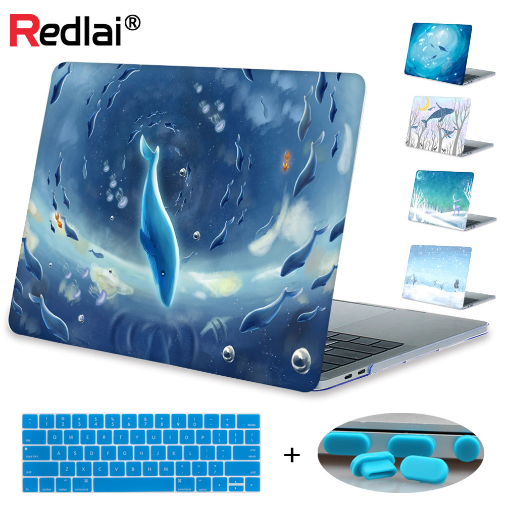Case For Macbook New Pro 13 15 inch Touch bar A1706 A1707 Blue Winter Print Hard Case Cover For Mac book Air Pro Retina 12 13 15 zorssar 2018 new fashion women shoes round toe thick heel ankle snow boots patent leather high heels womens boots winter