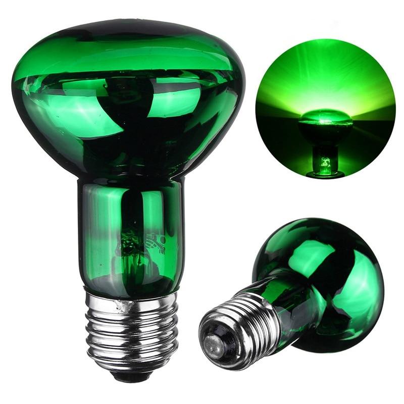 Pet Heating Light Bulb 25W/40W/50W/60W/75W/100W E27 R63 Green Night Heat Light Lamp Bulb For Reptile Pet Brooder AC220V-240V