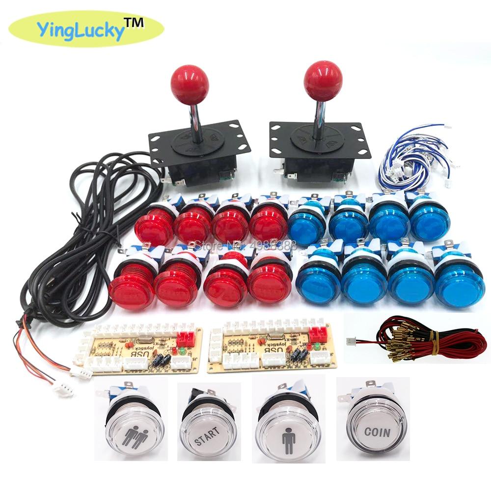 Джойстик для аркадных игр DIY zero delay pc USB & sanwa Джойстики 2 игрока аксессуары для игр светодиодный большой круглый джойстик с цветными кнопками