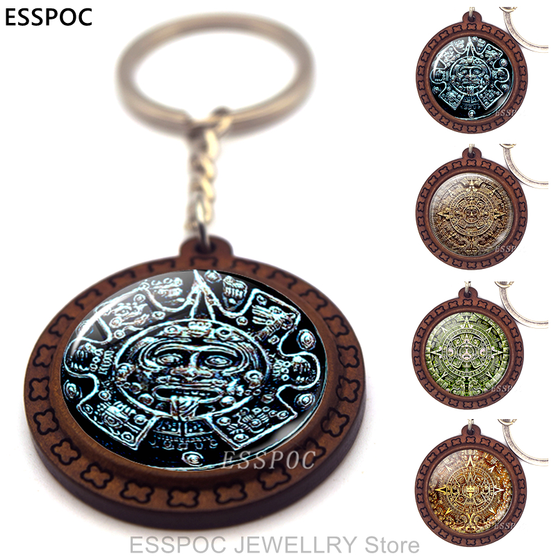 Fashion Accessories Aztec Jewelry Aztec Calendar Mexican Key Chain Engraved Wooden Keychain Keyring Mayan Calendar Pendant