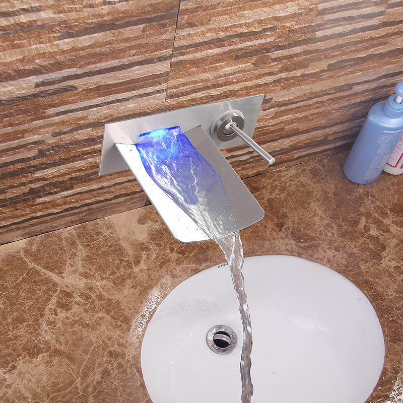Bathroom Basin Waterfall Led Faucet. Wall Mounted 3 Colors Changed Waterfall Led Tap. Water Power Basin Sink Led Mixer torneiras basin waterfall faucet wall mounted waterfall led tap basin sink mixer yt 5070