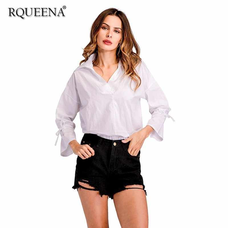 38a80846d1b Rqueena Women s Blouses White Black Ladies Turn-Down Collar Cotton Loose Womens  Shirts Long