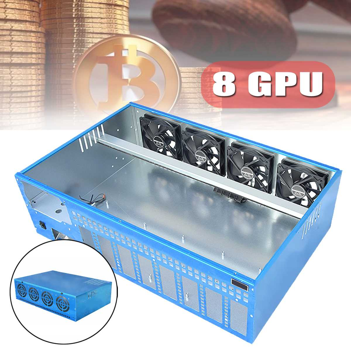 New 8GPU DIY Mining Frame Chassis PC Case Computer Case With 4 fans For Onda B250 BTC D8P-D3 Motherboard Computer Parts