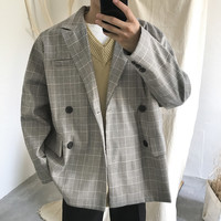 2019 new vintage check casual blazer masculino Fashion Hot Smart Double Breasted Three Quarter Cotton tunic