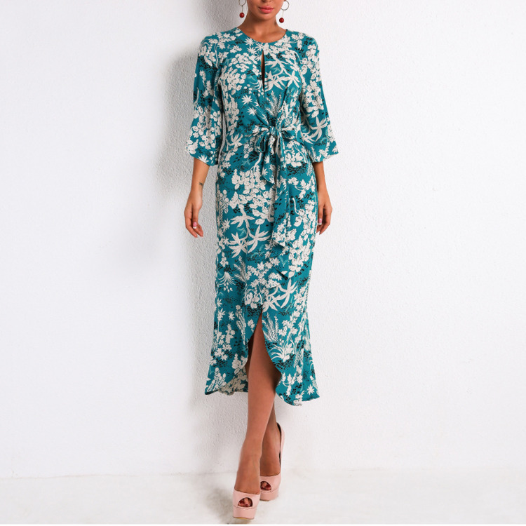 Floral Vacation women dress Round Neck Long Sleeve Shivering Belt Behind Hollow Out Grace Seaside Sandy Beach Dresses