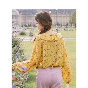 Image 3 - אינמן אביב סתיו V צוואר ספרותי פרחוני רטרו חג סגנון מקרית Loose ארוך שרוולים נשים חולצה