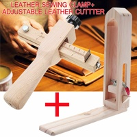 Wood Leather Craft Short Table Desktop Lacing Pony & Sewing Horse DIY Hand Stitching Clamp+Adjustable Leather Strip Cutter