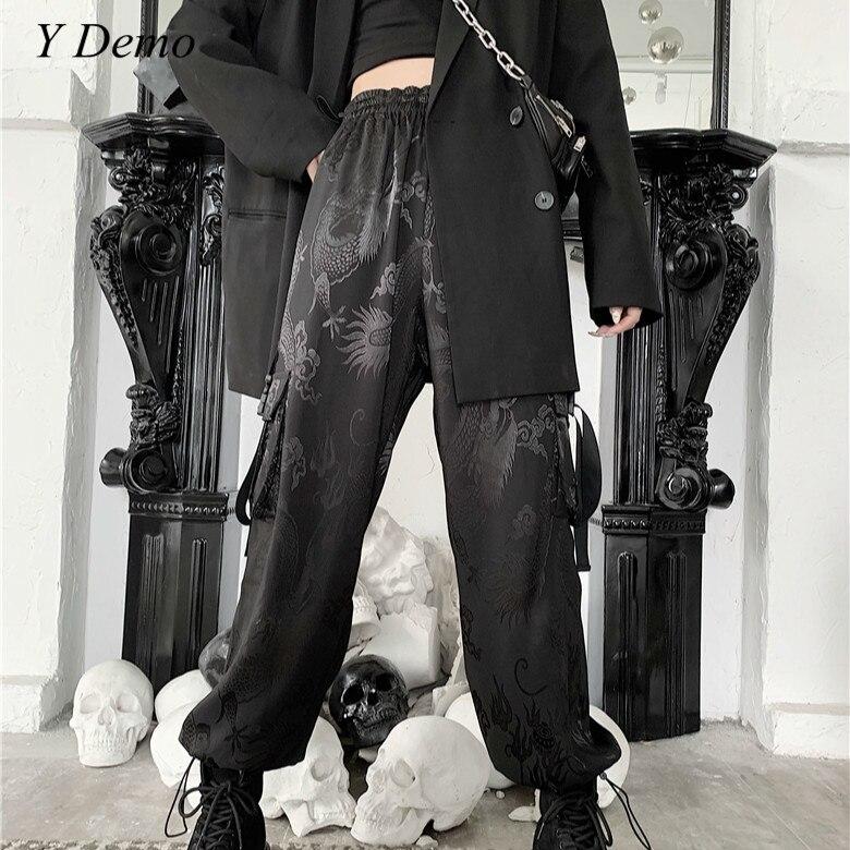 Harajuku Dragon Embroidery Soft Cargo Pants Women Side Pocket Rock Loose Elastic Waist Trousers Female