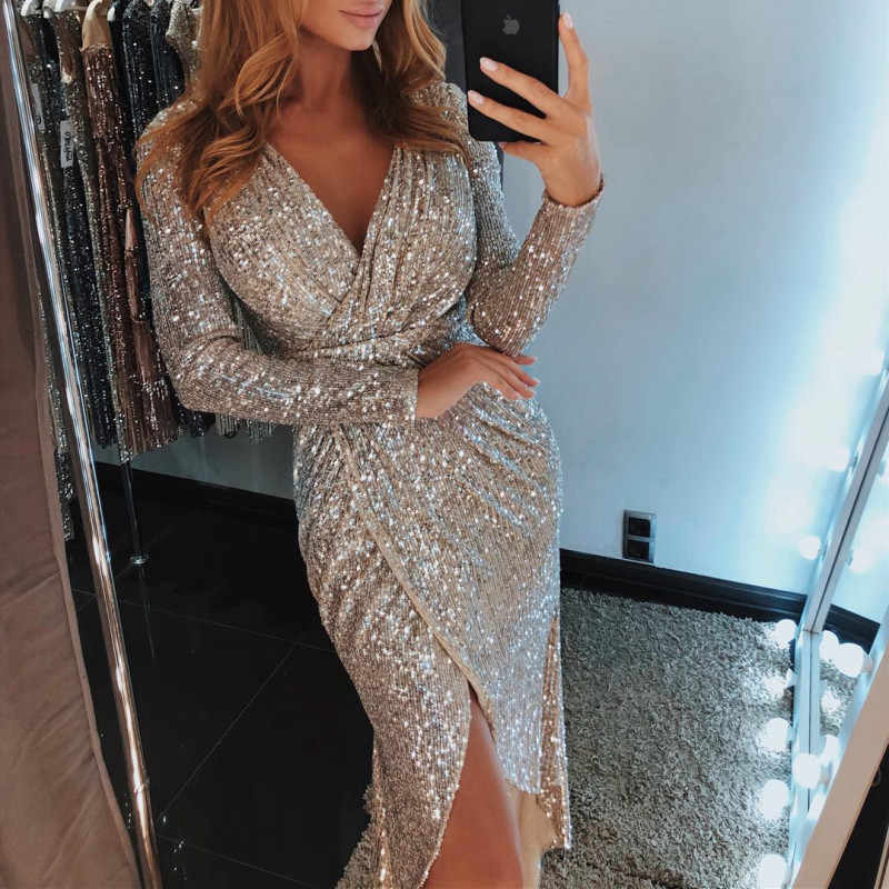 7a68830151 Try Everything 2019 Sequin Dress Plus Size Silver Prom Sequin Dresses Women  Party Night Sexy Dress For Women Long Sleeve Dresses