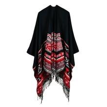 Богемные кашемировые шали с удлиненными плащами с обеих сторон шарф для женщин abrigos mujer invierno роскошный бренд