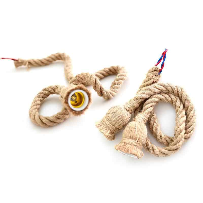 220V E27 Lamp Holder Vintage Rope Electric Cord Wire DIY Pendant Garland String Lights Base Decorative Light Bulb Holder 1m 1.5m