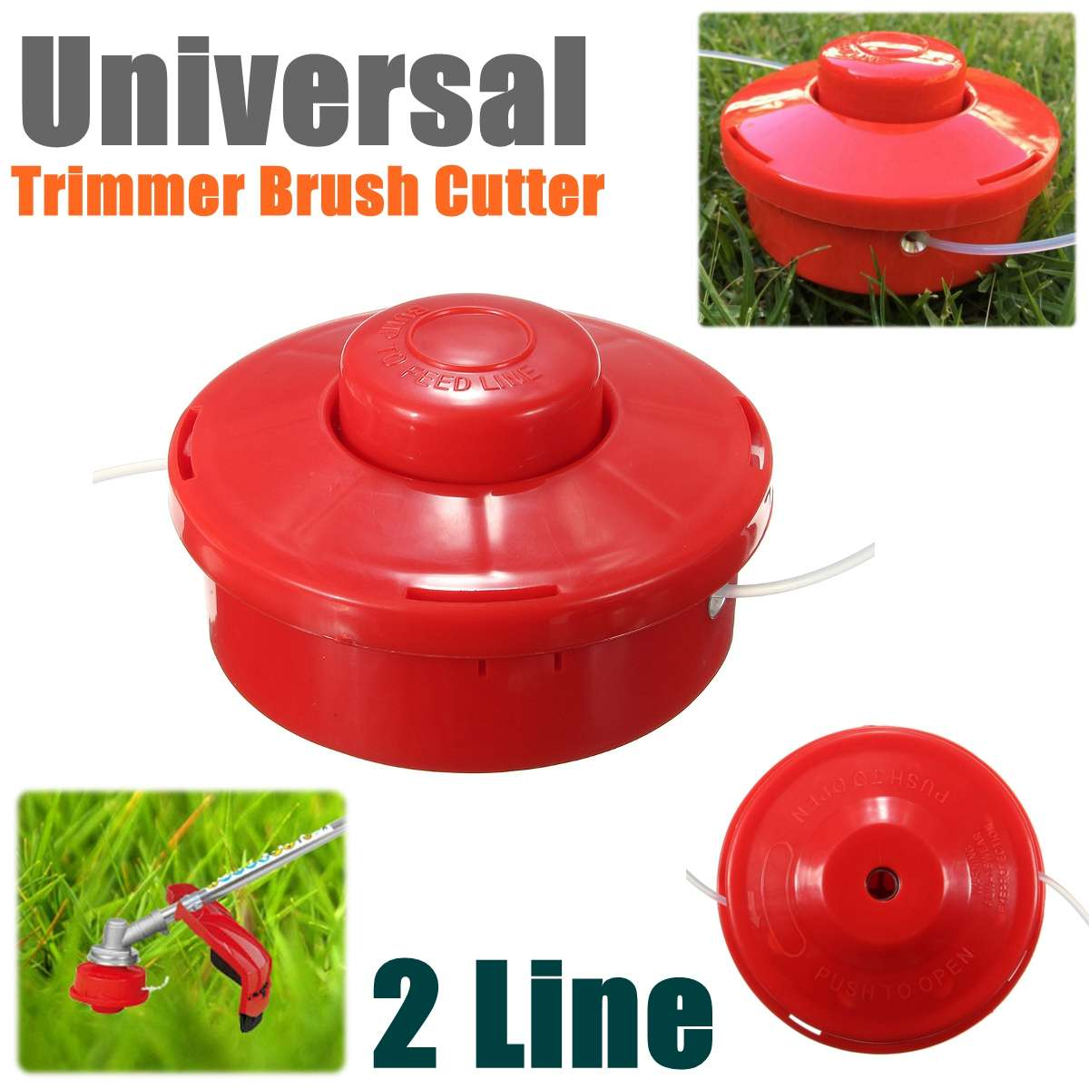 Universal Garden Grass Trimmer Brush Cutter Head 2 Wires Mower Bump Cutting Trimmer Gardening Brushcutter Head Red