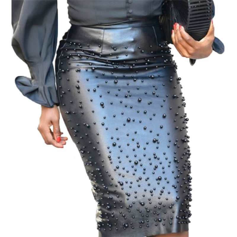 Plus Size High Waist Beading PU Faux Leather Pencil Skirt Women Fashion Skirt Sexy Club Bandage Skirt Faldas Jupe M-XXL 2019