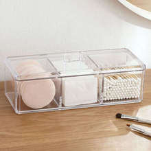 Acrylic Cotton Swab Makeup Organizer Storage Box Portable Container Make Up Pad Holder Cosmetics Case