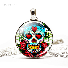 Sugar Skull Necklace Mexico Folk Art Glass Dome Pendant Chain Day of the Dead Jewelry Halloween Gift
