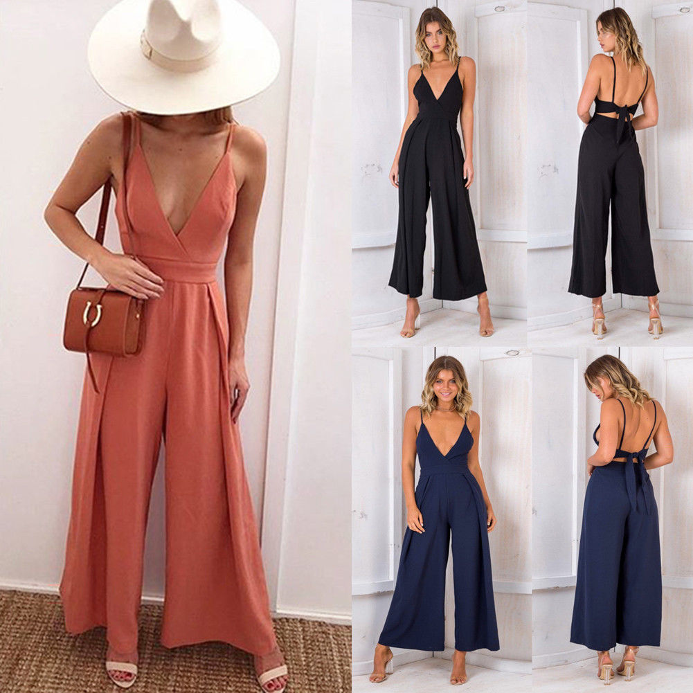 New Women Boho Sleeveless V-Neck Bownot Backless Slim Summer Playsuit Party Beach Holiday   Jumpsuit   Wide Leg Trousers