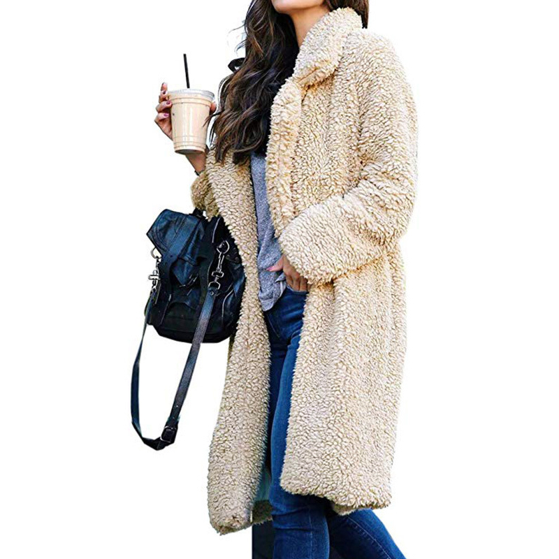 4fd292ad2e Women Fashion Thick Soft Warm Teddy Bear Fleece Fur Fluffy Coat Long Jackets  Ladies Casual Front