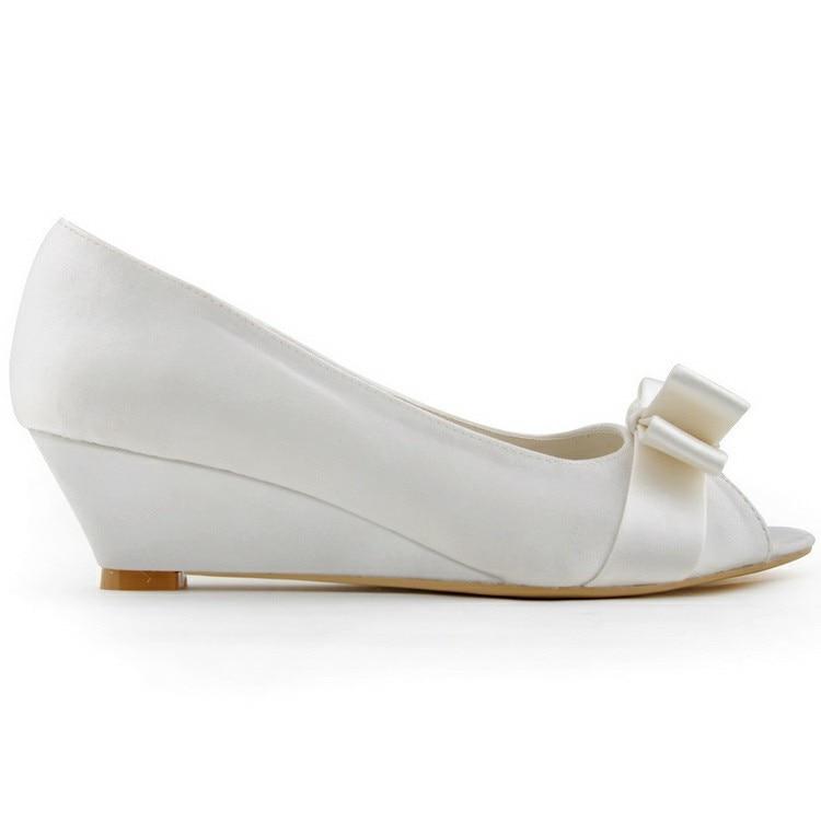 2014 nouvelle mode wp1402 blanc ivoire peep toe 2 talon compens boucle carre satin mariage femmes de bal soire chaussures - Chaussure Compense Mariage