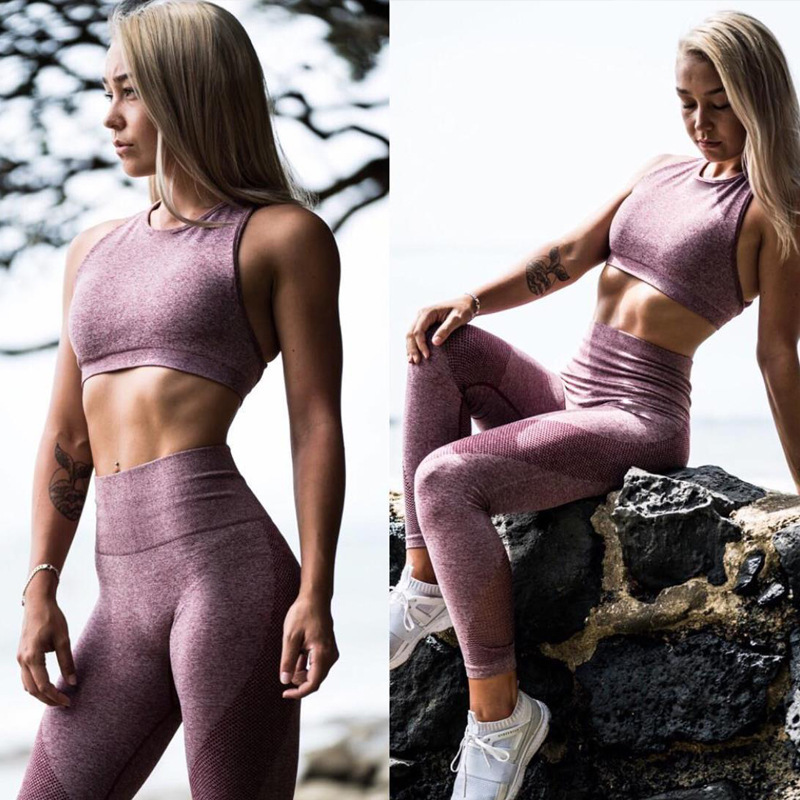 Excessive Waist Strong Ladies's Yoga Fits Feminine Gymnasium Exercise Clothes Yoga Set Bra+Pants Breathable Working Leggings Sport Go well with Yoga Units, Low cost Yoga Units, Excessive Waist Strong...