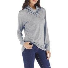 2019 camiseta a la moda para mujer camiseta Otoño Invierno túnica Top cuello alto fruncido manga larga Jersey Delgado Jersey camiseta femenina camisa XXL