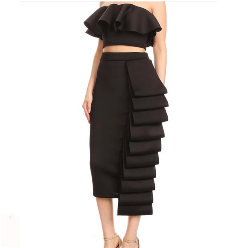 Women 2 Piece Sets Crop Top Skirts Sets Sexy Ruffles Off Shoulder Crop Top Summer Slim Backless 2 PCs Cake Skirt Suit Party Suit in Women 39 s Sets from Women 39 s Clothing