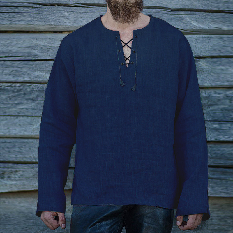 Spring Mens Long Sleeve T Shirts Dress Lace Up V Neck Loose Camisa Hombre Middle East Autumn Casual Tunic Shirts Mens Clothing