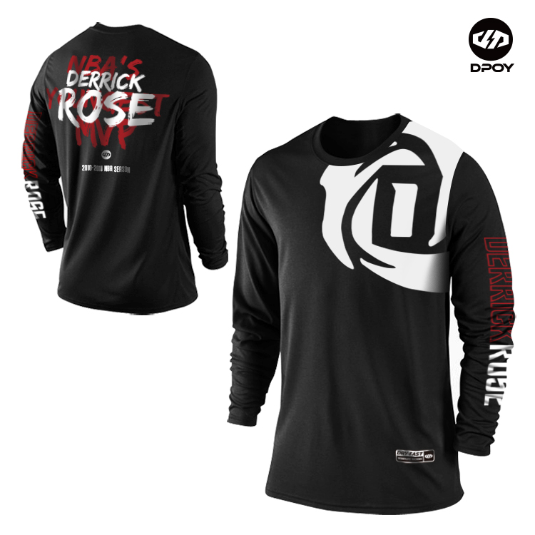 reputable site 28995 312d8 US $16.0 |Dpoy original Derrick Rose Long sleeve Tee shirt basketball sport  t shirt for men kid women Quick drying-in T-Shirts from Men's Clothing on  ...
