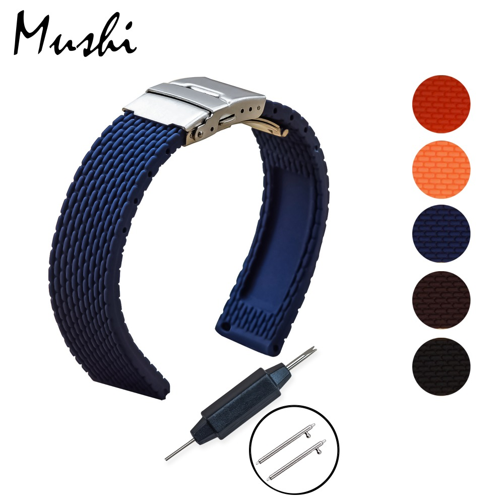 MS Silicone Watchband Diver Watch Band Rubber Watch Strap with Deployment Watchband Buckle Clasp 18mm 20mm 22mm 24mm Watch Strap