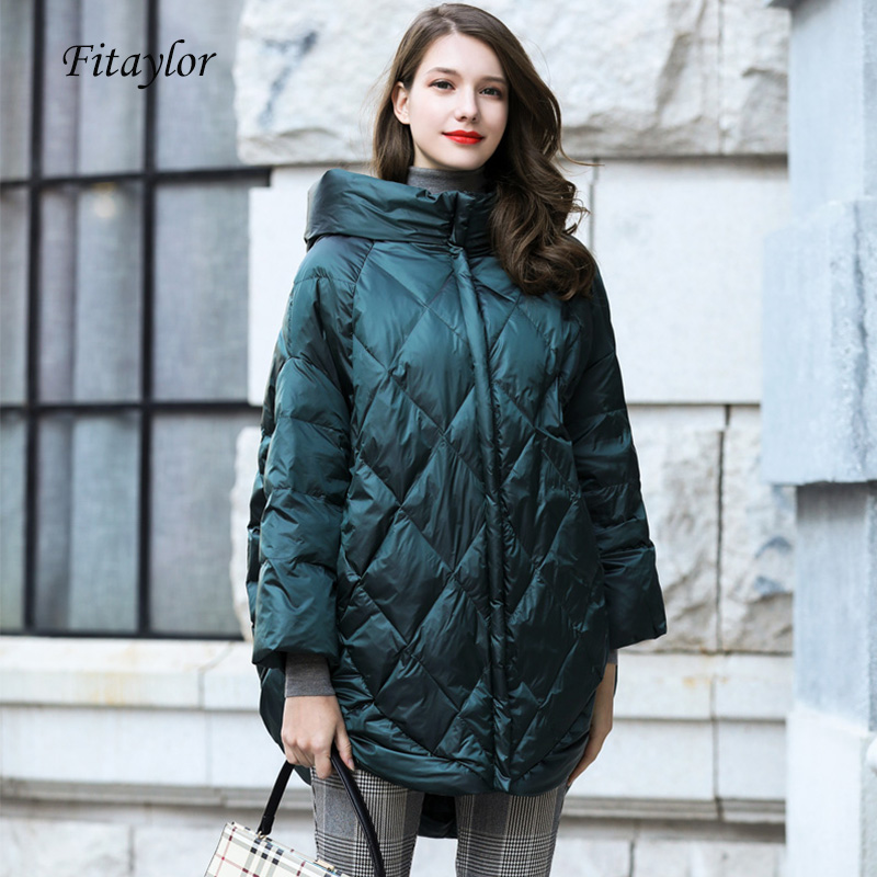 Fitaylor Winter Women 90 Down Coat Loose Fit Ultra Light Warm Parkas Batwing Sleeve Snow Hooded