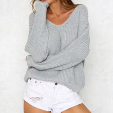 Sweater Women Tops Casual Hollow Out Sexy Backless Knitting Pullover Fashion Buckle Fastener Sweater