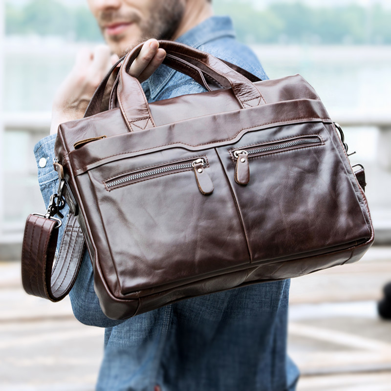 New Bag Men Leather Briefcases Men's Bags Genuine Leather Shoulder Crossbody Bags Laptop Bag Business Man Briefcase Tote Handbag