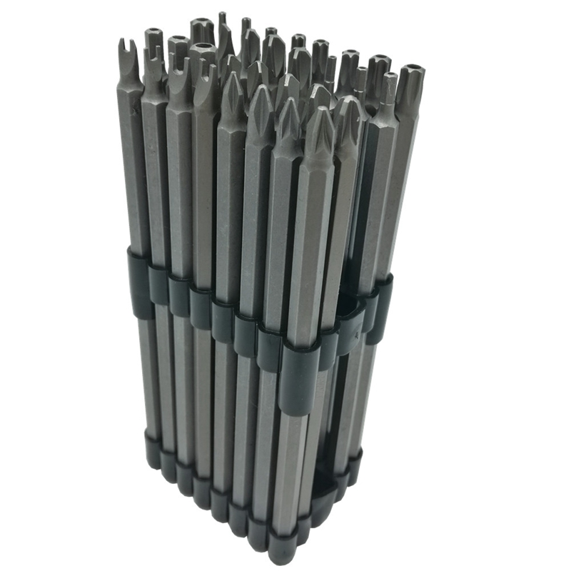 32 Pc Extra Long Bit Power Set 6 Polegada Shank Comprimento 150 Mm 1/4 Polegada Tamperproof Torx Cr-V