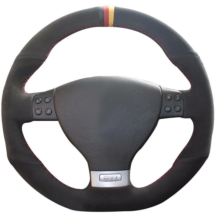 Couvre-volant de voiture en daim noir marqueur noir rouge jaune pour Volkswagen Golf 5 Mk5 GTI VW Golf 5 R32 Passat R GT 2005