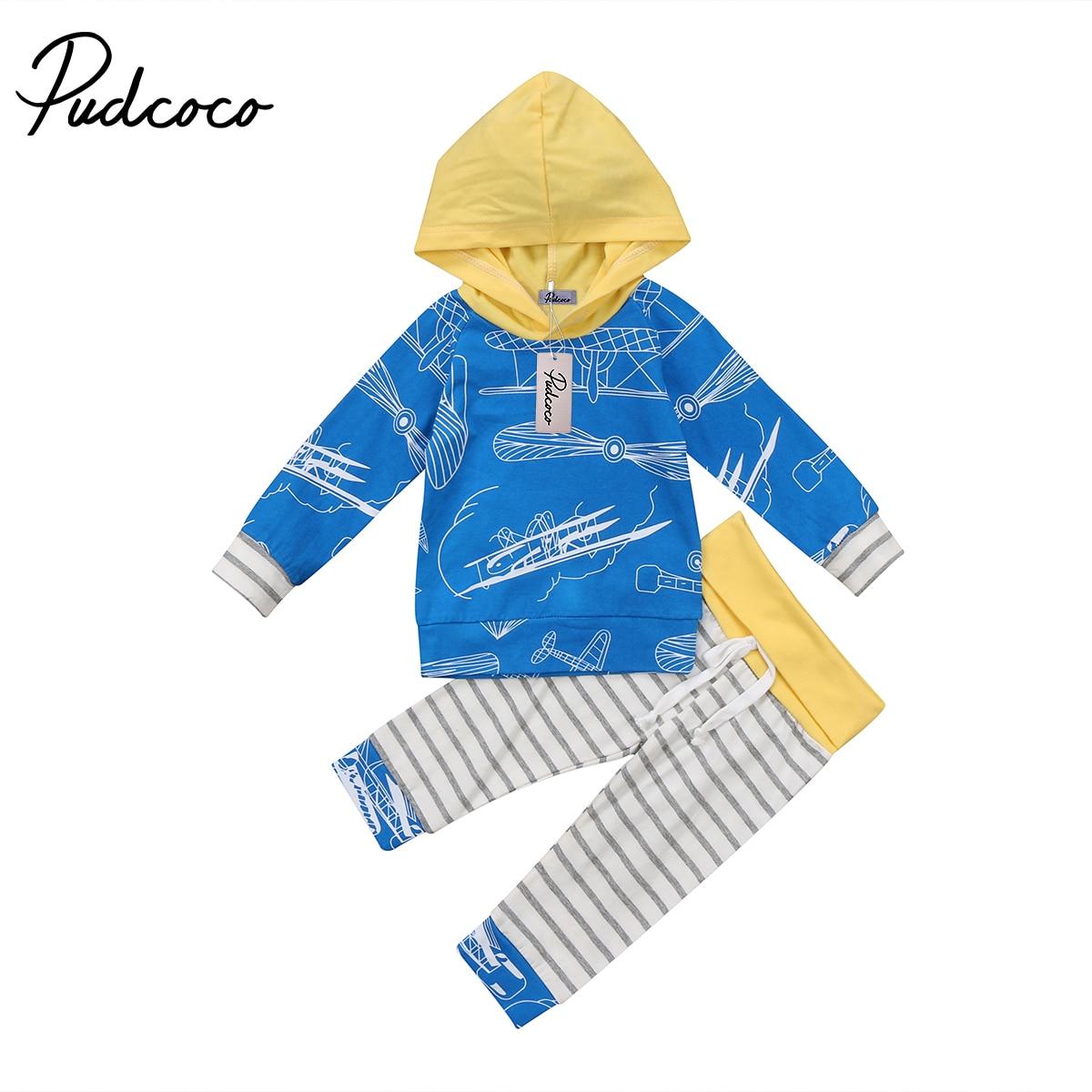 0-24 Mt Kleinkind Baby Jungen Mädchen Baumwolle Langarm Hoodie Tops + Streifen Hosen Outfits Aromatischer Geschmack