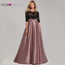 Контрастные цвета Вечерние платья Ever Pretty EP07866 A-Line o-образным вырезом имперский кружевной бант элегантная Сексуальная Вечерние платья Robe De Soiree