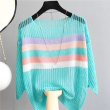 2019 Summer Women Knitted Sweaters Pullover Loose Round Neck Hollow Pullovers Casual Colorful Striped Thin Sweater goplus women s knitted sweater o neck autumn pullovers loose flare sleeve colorful striped pullover coat kleding vrouwen c9503