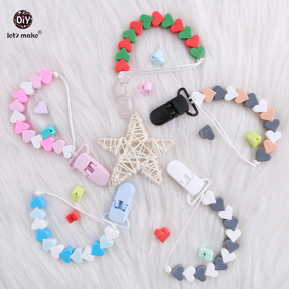 Let's Make Baby Feeding 1pc Pacifier Chain Pacifier Clips Perle Heart Silicone Beads Chupetero Baby Accessories Holder Present