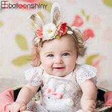 BalleenShiny Artificial Flower Headband Baby Girls Fashion Lovely Rabbit Ear Hair Band Children Kids Princess Bandeau Photo Prop
